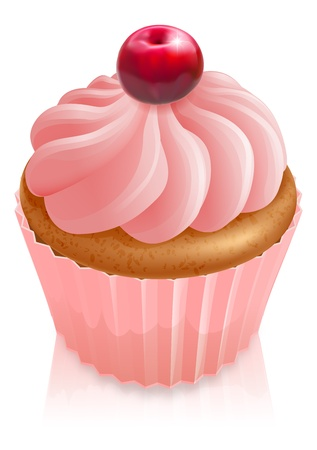 Illustration of a pink fairy cake cupcake with cherry on top