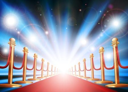 Una gran entrada con alfombra roja, cuerda de terciopelo y fotógrafos parpadear las luces apagarse Ilustración de vector