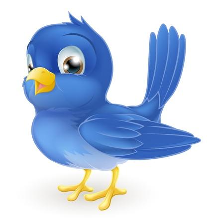 Illustration d'un comité permanent bluebird mignon de bande dessinée