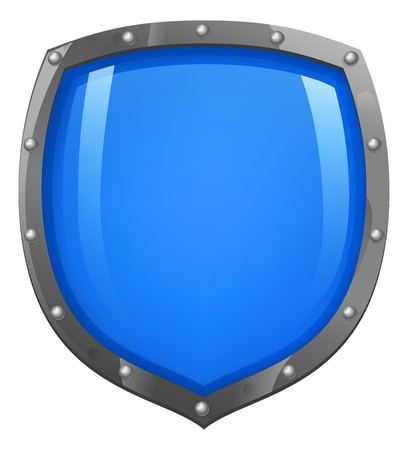 A glossy, shiny blue shield illustration  Concept for defence or security