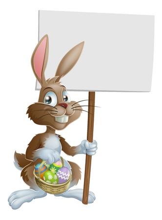 Conejo de Pascua del conejo con una cesta de huevos de Pascua y un signo