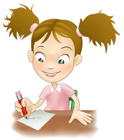 Ilustración de una chica linda joven se sentó en su escritorio en el papel.