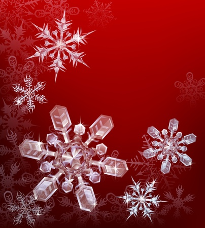 A red Christmas snowflake background with beautiful transparent crystal snowflakes