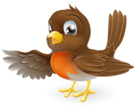 Een lief klein Robin staan en wijst met zijn vleugel Vector Illustratie
