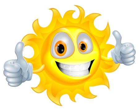 A sun cartoon mascot giving a double thumbs up