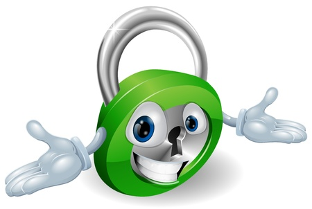 Cute smiling padlock cartoon character with open arms Stock Vector - 12808897
