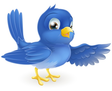 Illustration of a standing bluebird pointing with its wing