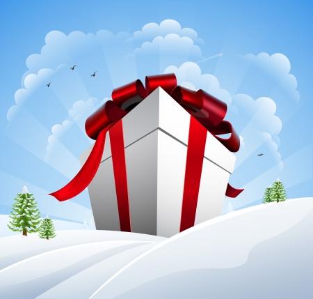 Un regalo di Natale gigante in mezzo alla neve. Concetto per una vendita di Natale enorme.