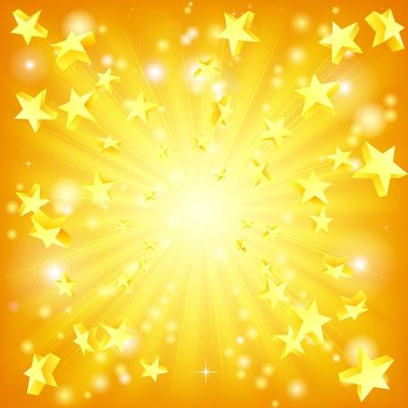 Sfondo arancione e giallo con stelle 3D volano fuori.