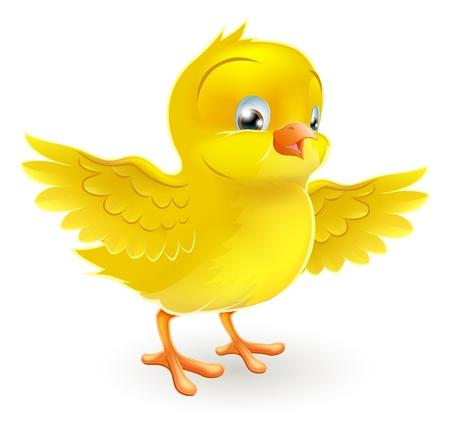 Illustratie van een leuke vrolijke kleine gele Pasen chick met haar uitgestrekte vleugels