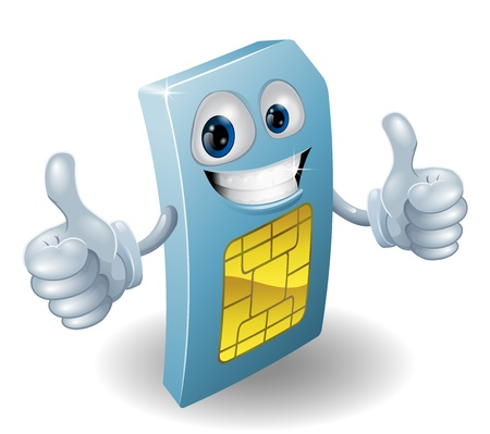 Illustration of a happy phone sim card person doing a thumbs up Stock Vector - 12808914