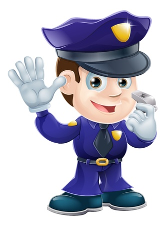 A cute police man character holding a whistle and waving or doing a stop gesture