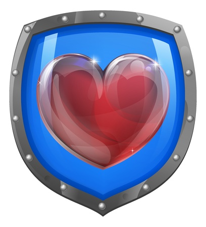 Conceptual illustration of a heart symbol on a shield icon. Could be an icon for liking or loving something.