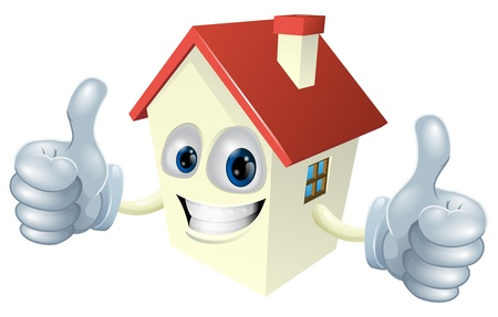 Illustration of a cartoon house mascot giving a double thumbs up Ilustrace