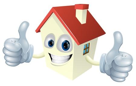 Ilustracja z maskotką domu kreskówki daje podwójne kciuki do góry
