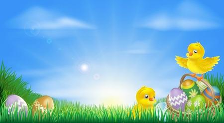 Ilustración de fondo de los felices amarillas pollitos de Pascua y huevos de Pascua en un campo