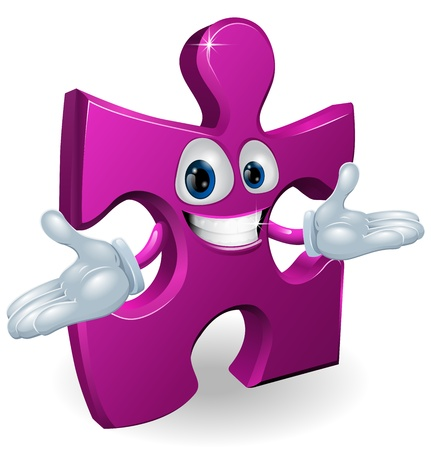 A happy smiling purple jigsaw piece character illustration Illustration