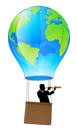 Businessman in a business suit with a telescope looking forward for opportunity in a hot air balloon with a world globe on it. Concept illustration