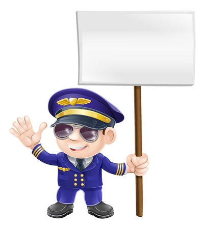 Illustration of a cute airplane pilot character waving and holding message sign