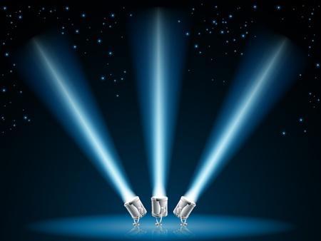 Illustratie van zoeken of verlichting ter plaatse te wijzen in de donkere hemel met sterren