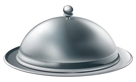 高級レストランで使われるよう罰金ダイニング銀クローシュ大皿イラスト
