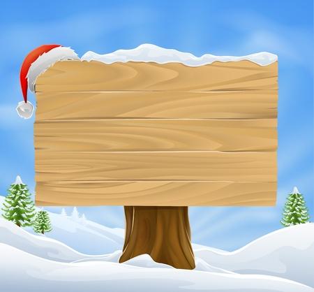 Illustration der hölzernen Schild Weihnachten mit Schnee und Santa Hut hing es vor einer Winterlandschaft. Standard-Bild - 13120147