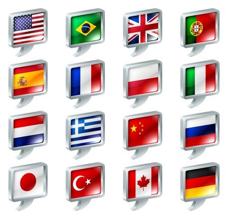 플래그 연설 거품 아이콘 버튼의 집합입니다; 언어와 관련된 아무것도 큰; 지역 또는 번역; 국가 별 웹 포럼 섹션을.