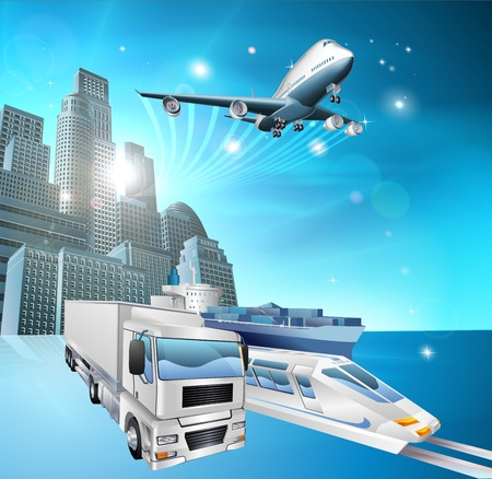 Illustration of transport vehicles and city with blue background  Logistics or delivery concept