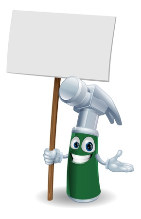 Claw hammer tool cartoon character mascot illustration holding a sign post
