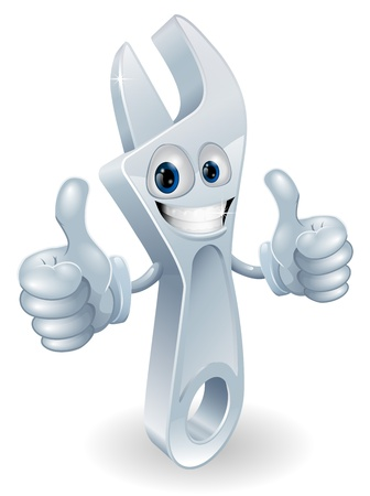 Adjustable spanner man mascot giving a double thumbs up and smiling Иллюстрация