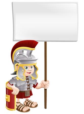 Illustratie van een schattige Romeinse soldaat met een bord