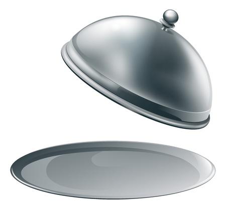 Een open lege metalen zilveren schaal of cloche met ruimte om object of tekst te plaatsen op het