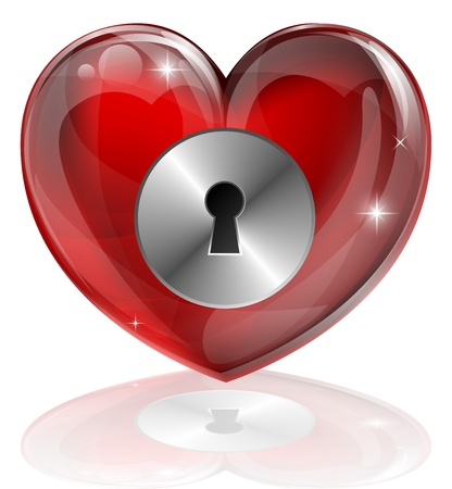 Illustration of a heart shaped lock with keyhole. Concept for loneliness, unlocking love, being guarded, health related or other subjects.