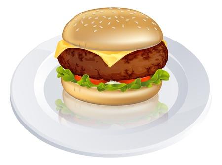 Illustratie van een smakelijke op zoek beefburger of cheeseburger soort hamburger op een bord