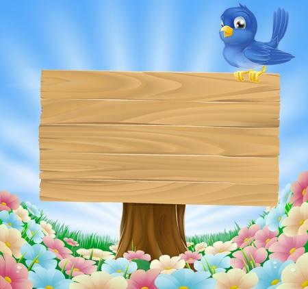 Oiseau de bande dessinée bleu, assis sur une planche en bois signe une prairie fleurie