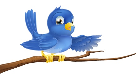Illustration of a bluebird sitting on a tree branch pointing or showing