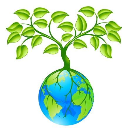 Ilustracja pojęcia planety glob świata z drzewa rosnącego na szczycie. Dowolna ilość zieleni w środowisku naturalnym lub interpretacji wzrostu gospodarczego.