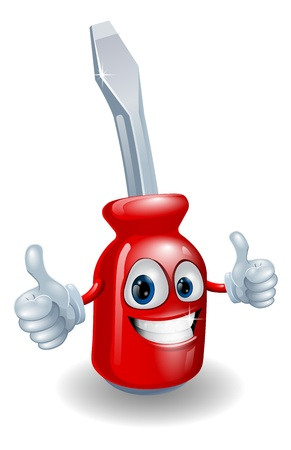 Cartoon screwdriver illustration giving a double thumbs up