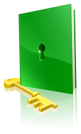 Access to education concept, a green book with keyhole and gold key to access it