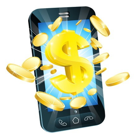Dollar geld telefoon concept illustratie van mobiele mobiele telefoon met gouden dollar en munten Vector Illustratie
