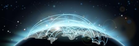 Een wereldkaart netwerk achtergrond met vliegroutes of handelsroutes of de communicatie tussen de landen en steden Stock Illustratie