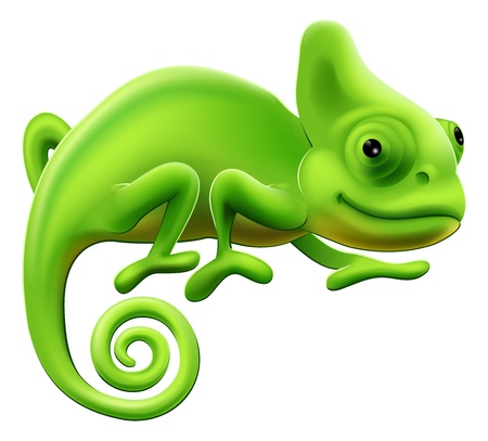 An illustration of a cute green cartoon chameleon lizard