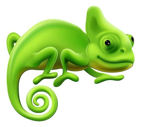 An illustration of a cute green cartoon chameleon lizard