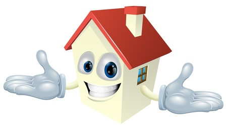 Illustration of a cute happy house character smiling