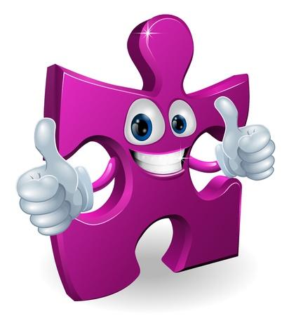 Una pieza del puzzle de dibujos animados hombre sonriente y con un pulgar hacia arriba dobles Ilustración de vector