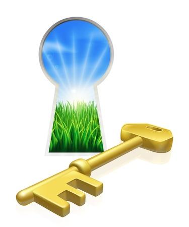 Conceptuele illustratie van sleutel en sleutelgat kijkt uit op mooie groene veld. Concept voor vrijheid, kansen of andere zakelijke metafoor