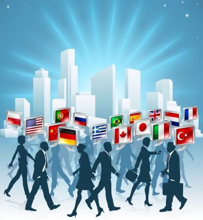 La gente de negocios que pasan unos a otros a la hora pico en la ciudad hablando muchos idiomas diferentes