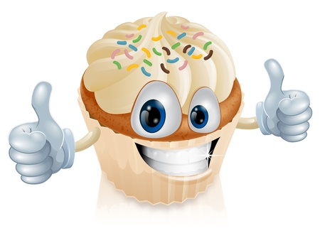 Illustration eines Spaß Fee Kuchen Charakter geben einen Daumen nach oben