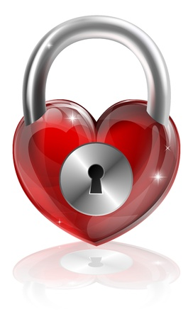 A locked heart concept graphic. Could be about needing to find love, locking feelings away or other interpretations. Illustration