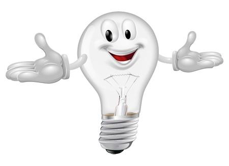 Illustration of a cute light bulb mascot smiling